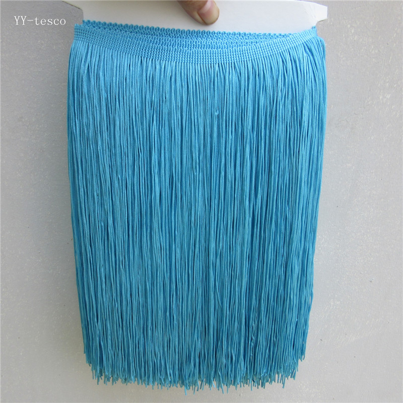 10Yards 30cm Wide Lace Fringe Trim Tassel Blue Lace Fringe Trimming For Latin Dress Stage Clothes Accessories Lace Ribbon