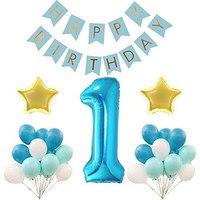 Primera Feliz Cumpleaños Bunting Banner globos de látex para la ducha de bebé niño niña primera fiesta de cumpleaños decoración globos fuentes del partido