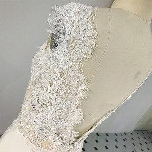 Image 3 - RSW1431 Sleeveless V Ausschnitt Zurück Meerjungfrau Spitze Elfenbein Und Champagner Farbe Hochzeit Kleid