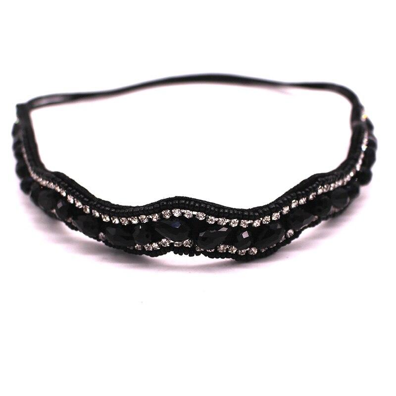 Metting joura в богемном стиле с украшением в виде кристаллов пистолет, украшенный стразами черный Facetedmetal бусины головная повязка, завязка для волос аксессуары для волос - Цвет: Черный