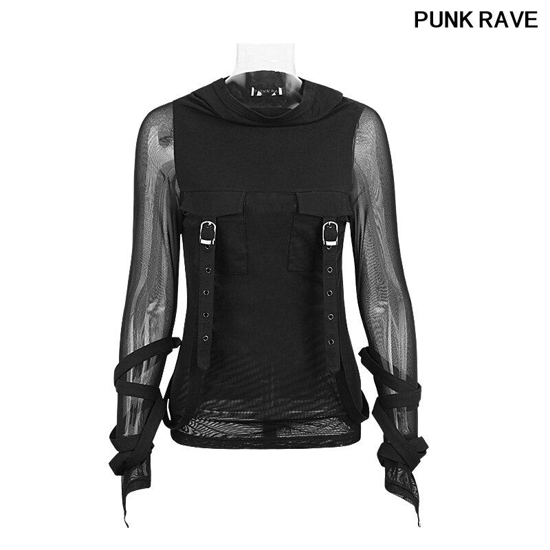 Mode foncé lourd Steampunk rue T-Shirt grande capuche noir translucide manches longues Stretch T-Shirt hauts à capuche PUNK RAVE T-407