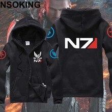 New Winter Jackets and Coats Mass Effect Hoodie Anime N7 Hooded Zipper Men Sweatshirts