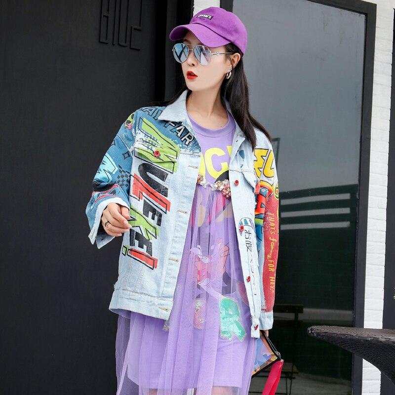 European station Thai street fashion chic cartoon fashion letters graffiti printing denim jacket female loose wild shirt