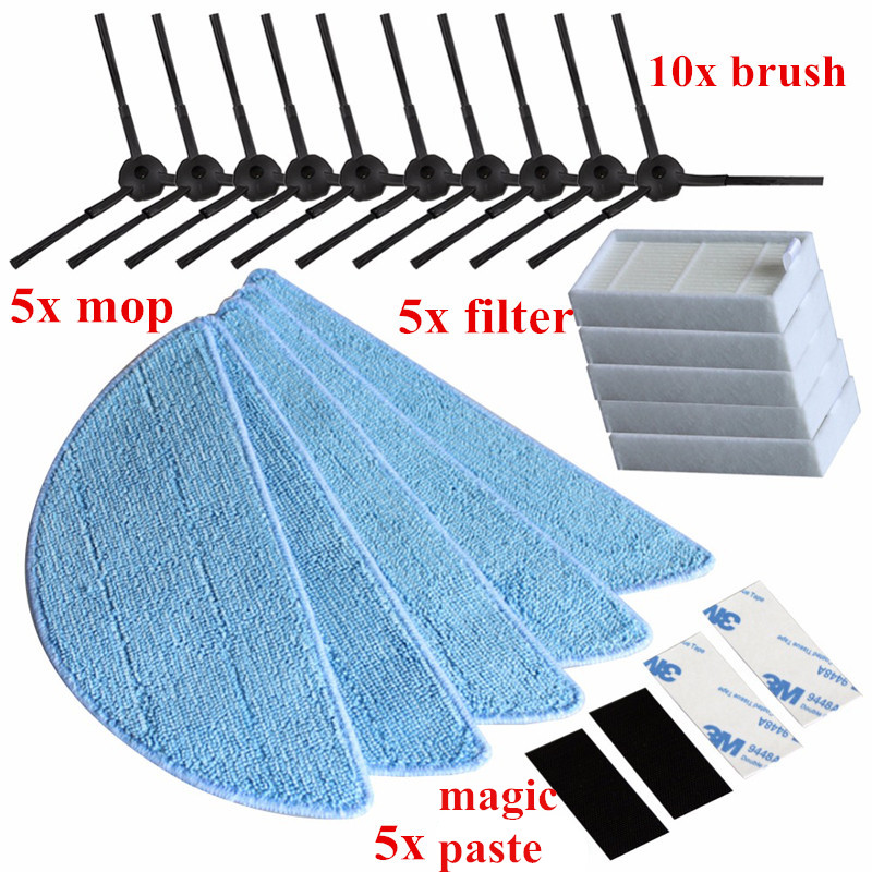10*Side Brush+5*HEPA Filter+5*Mop Cloth+5*Magic paste for Chuwi ilife v5s ilife v5s pro x5 V3+ V5 V3 v5pro Vacuum Cleaner Parts