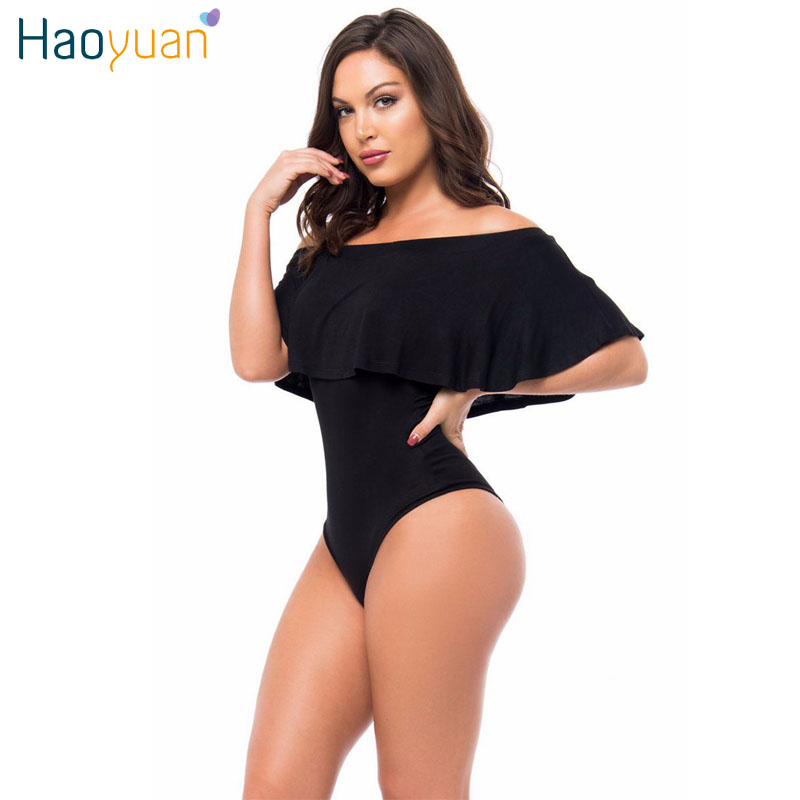 все цены на HAOYUAN Ruffles Off Shoulder Bodysuit Women Black Red Combinaison Femme Backless Sexy Rompers Jumpsuit Skinny Bodycon Overalls
