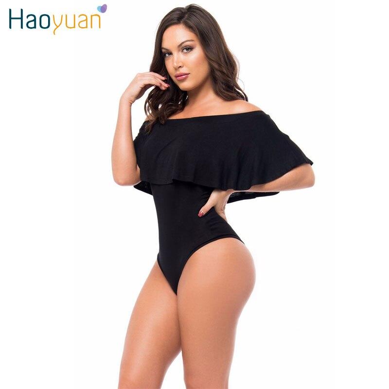 HAOYUAN volantes fuera del hombro Bodysuit Top mujeres negro rojo espalda descubierta Sexy mono ceñido Bodycon Boho playa monos