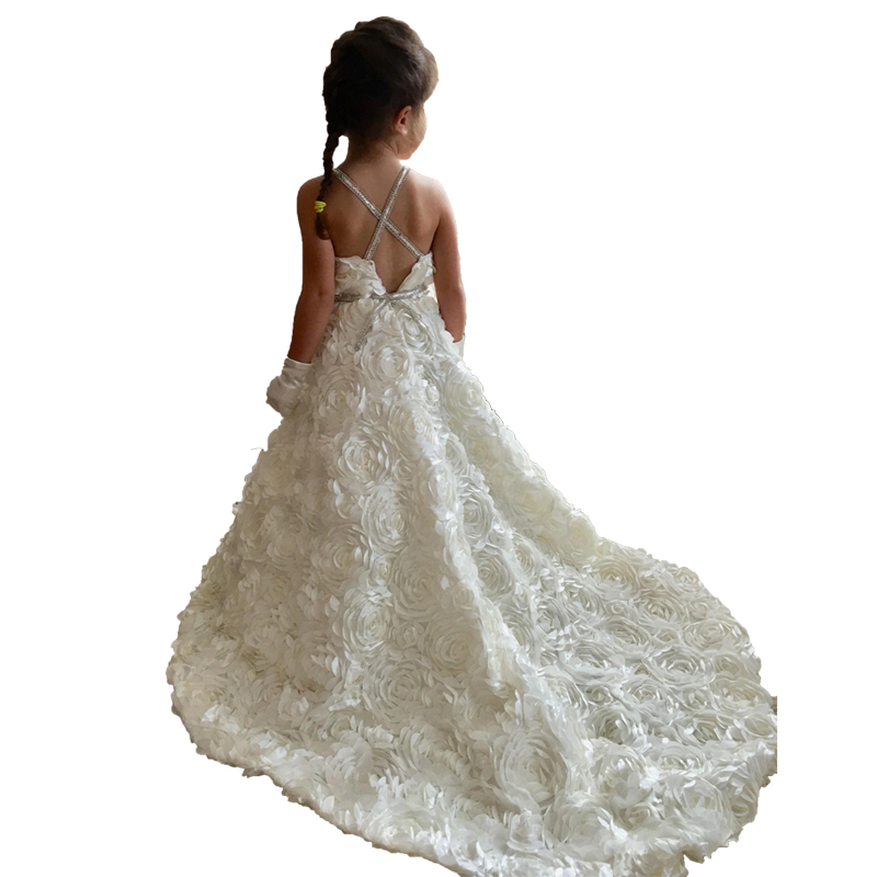 Little Bride   Dresses   Elegant Little   Girls   Ball Gowns Kids Party   Dress   White Holy Communion 2019   Flower     Girl     Dresses   with Train
