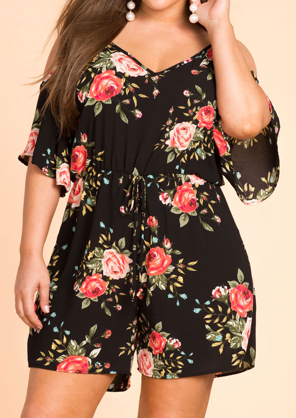 Plus size casual losse playsuits Dames Floral Cold Shoulder Romper - Dameskleding