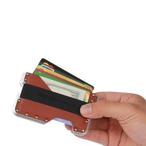 Image 3 - ZEEKER yeni tasarım alüminyum Metal RFID engelleme kredi kart tutucu hakiki deri Minimalist kart cüzdan erkekler için