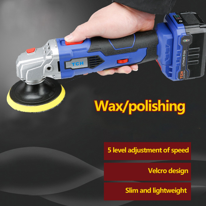 TCH waxing machine with 16V lithium battery portable cordless car polisher cleaner adjustable speed polish machine charging 12v lithium car polishing waxing machine household car furniture wireless portable adjustable speed polishing machine