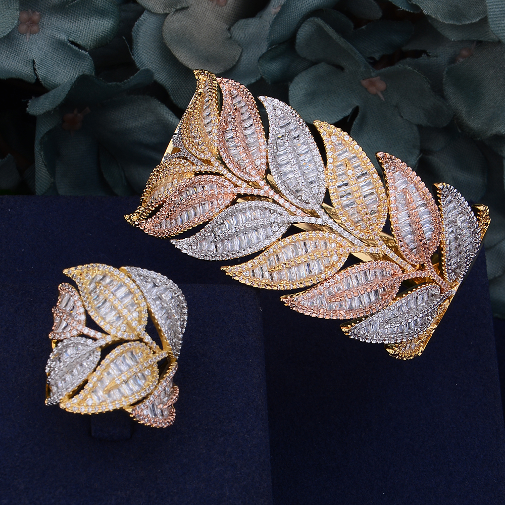 GODKI Luxury Leaf African Bangle Ring Sets Fashion Nigerian Jewelry Sets For Women Wedding Brides brincos