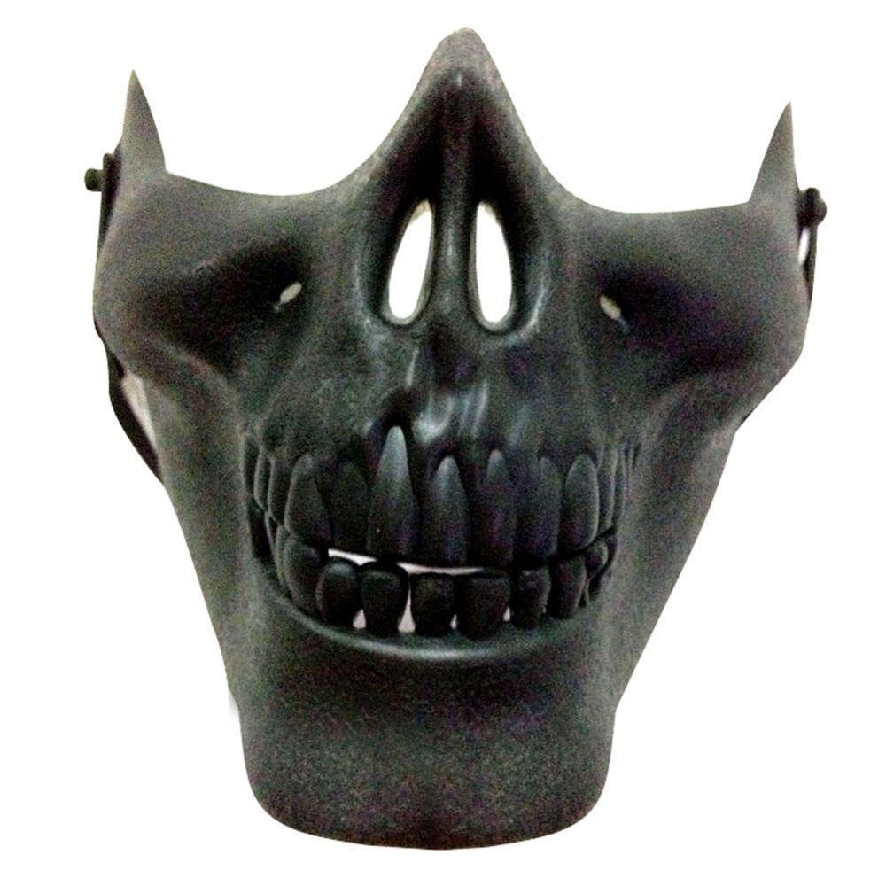 Vehemo костюм Хэллоуин вечерние Страйкбол Череп Маска Мотоцикл Скелет половина лица маски для активного отдыха Decro - Цвет: Черный