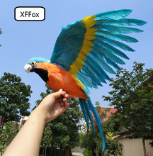 big real life blue&orange wings parrot model foam&feather simulation parrot bird gift about 45x60cm xf0268 big wings parrot toy plastic