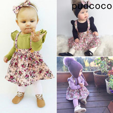 2019 New Girls Dresses Summer Fashion Toddler Kids Baby Girls Floral Printing Sleeveless Clothes Party Bib Strap Tutu Dress 0-4Y