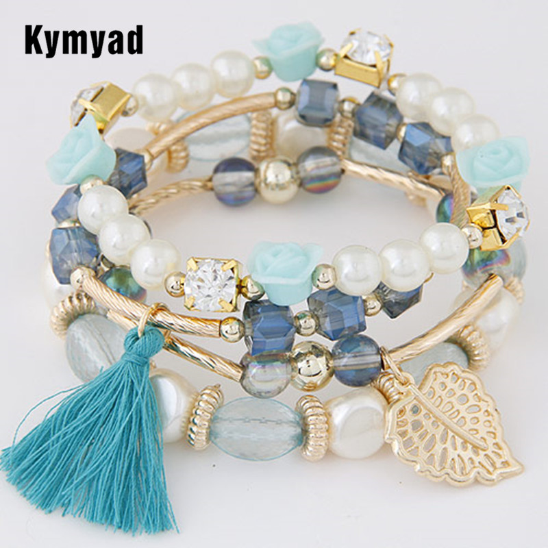 Kymyad Fashion Design Girl Jewelry Handmade Bracelets Sets For Women Glass Beads Charm Gold Color Bracelet Vintage Jewlery ...