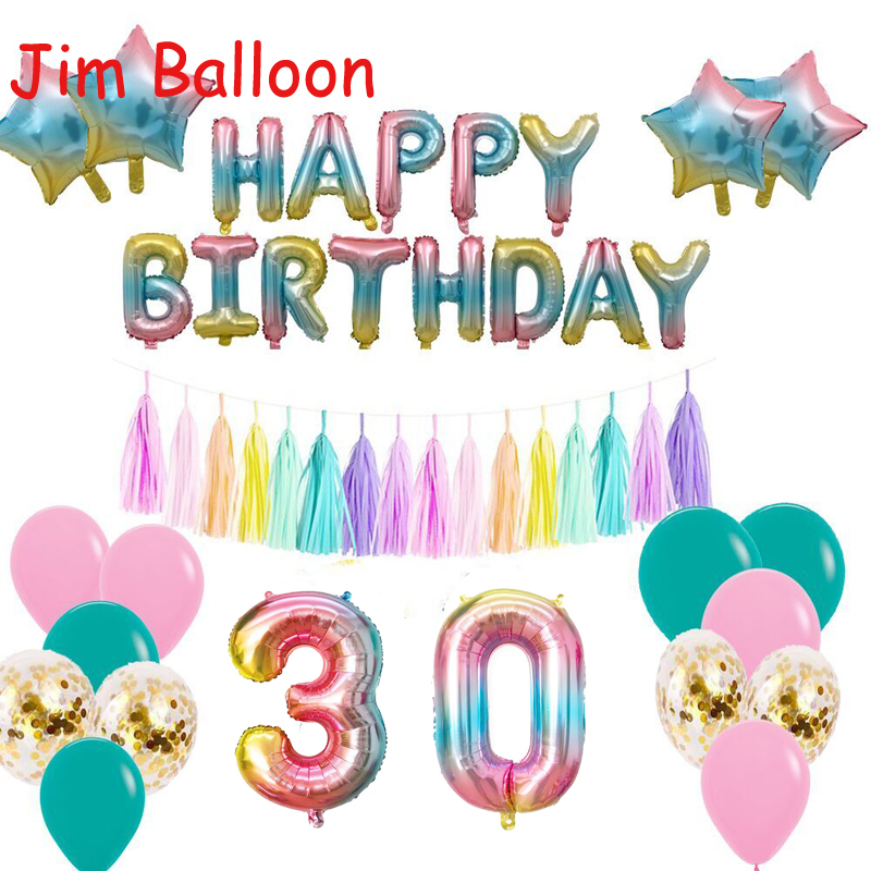 32inch Iridescent Rainbow Foil Balloons Color Number Birthday
