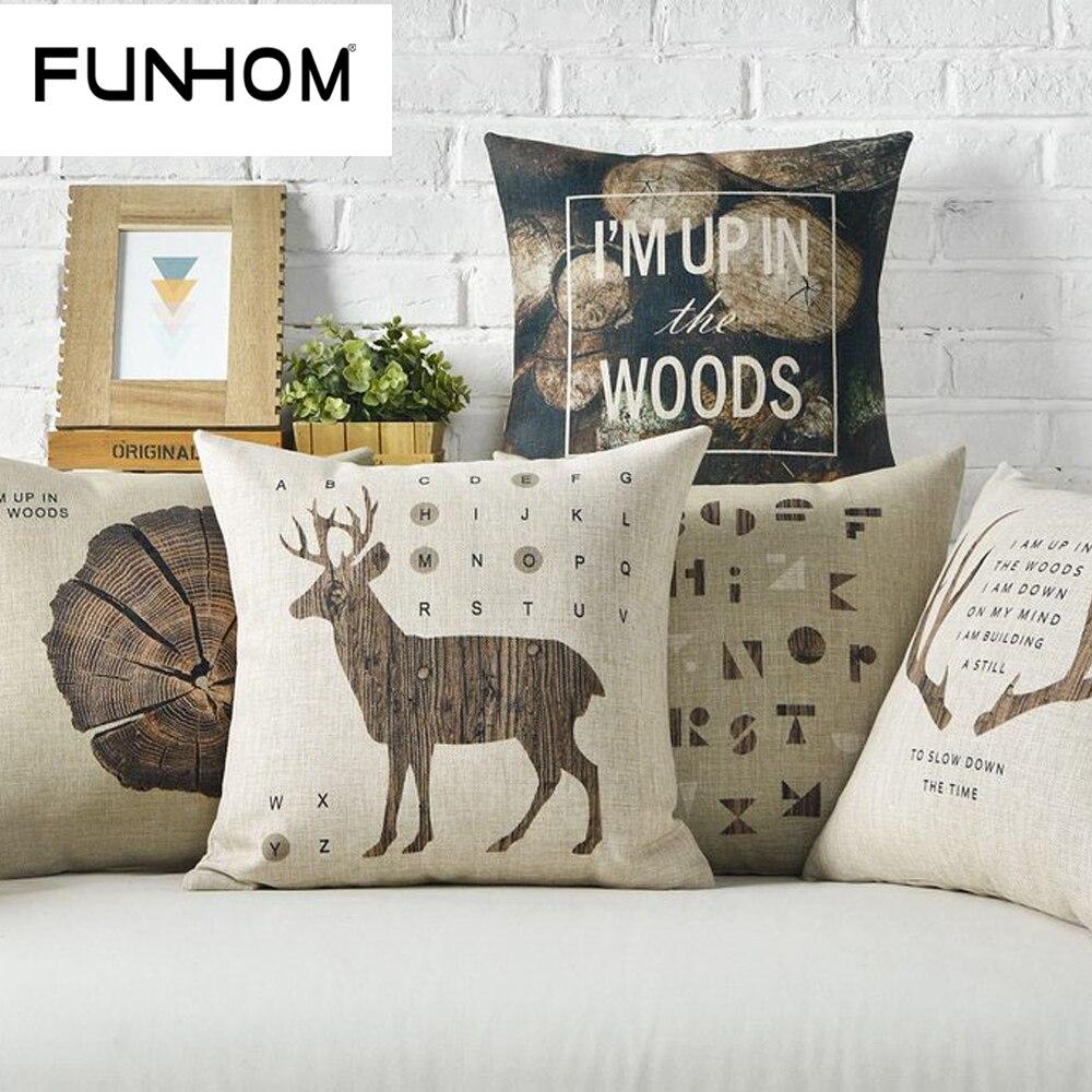 Nordic American Village Log Deer Pillow Cushions Lumbar Waist Pillow Linen Pillowcase Sofa Cushion Home Decorative Pillows
