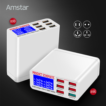 Amstar USB Sạc LED Hiển Thị cho iPhone iPad Samsung Sạc Nhanh 3.0 6 Cổng Nhanh Sạc 5 V/8A du lịch Adapter Phổ