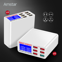 Amstar carregador usb display led para iphone ipad samsung carga rápida 3.0 6 portas de carregamento rápido 5v/8a adaptador viagem universal