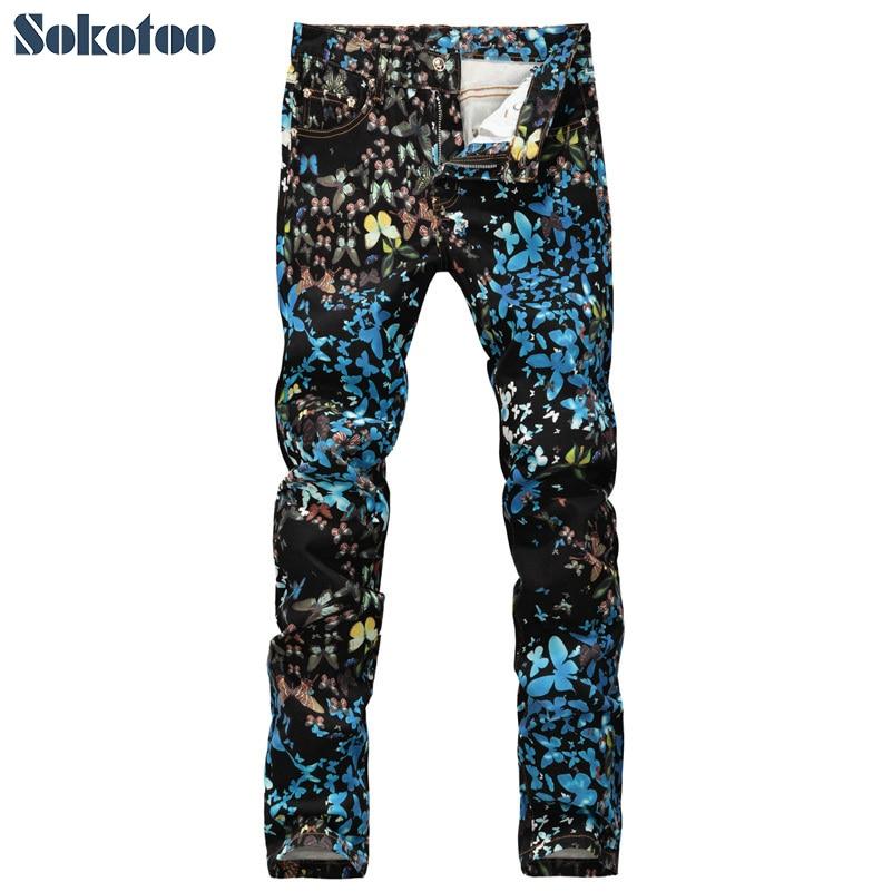 ФОТО Sokotoo Men's fashion butterfly print jeans Casual slim fit black blue fancy painted denim pants Long trousers