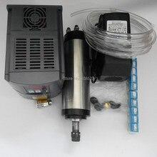 CNC 220 v silnik wrzeciona 2.2kw 4 łożyska i falownika 2.2kw & pompa wody i wrzeciona er20 collet zestaw zacisk do cnc grawer