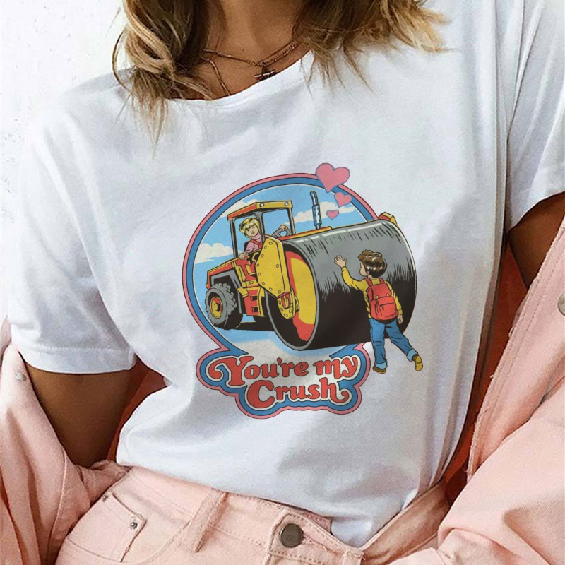 Vogue summer new Hillbilly You're My Crush Print   T     Shirt   women Harajuku Vintage Tshirt Femme Leisure Short Sleeve female   T  -  shirt