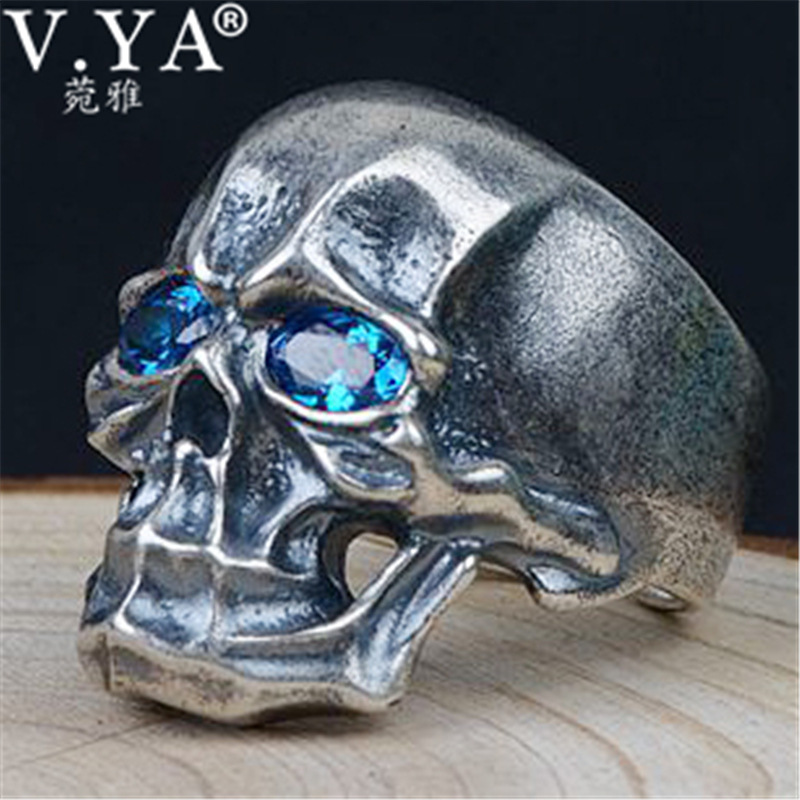V.YA Silver Mens Open Rings for Male Men 925 Sterling Silver Ring with Blue Zircon Skull Jewelry High Quality
