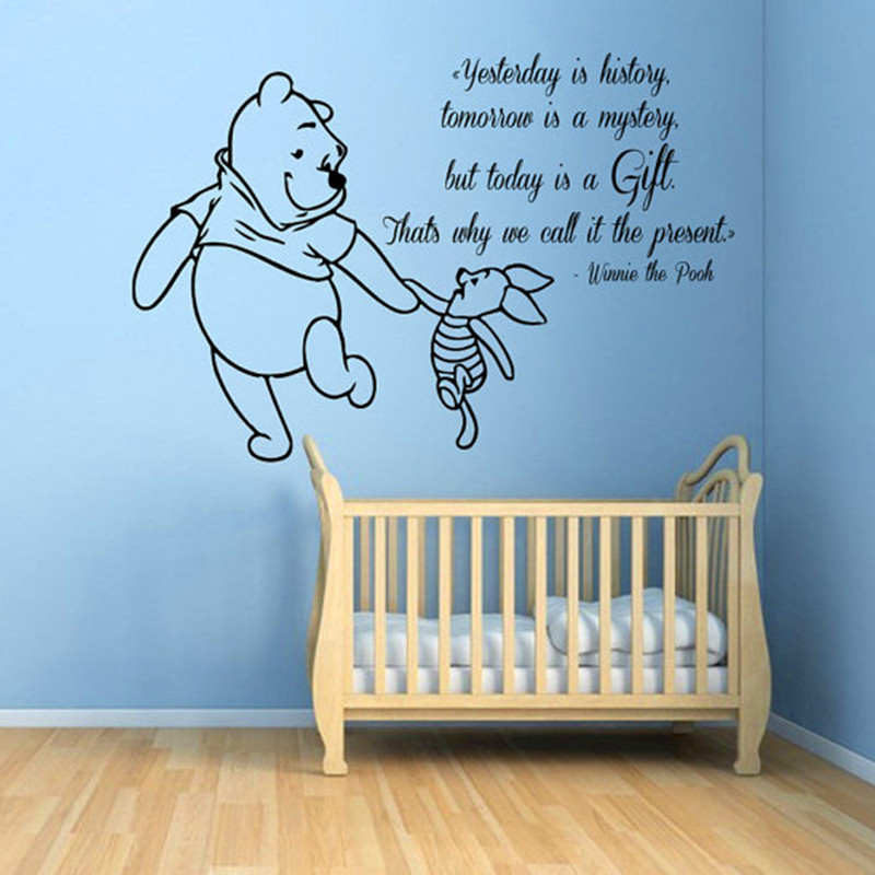 Winnie The Pooh Wall Decals Piglet Quotes Children Vinyl Decal Sticker Baby  Kids Art Mural Girl Boy Nursery Room Bedding Decor In Wall Stickers From  Home ...