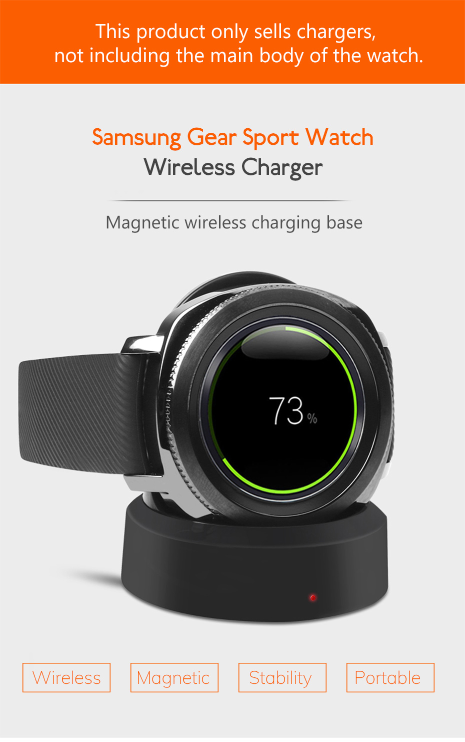High Quality Wireless Charging Dock Charger Smart Watch Magnetic Adsorption Charging Satnd for Samsung Gear Sport Smart Watch (1)