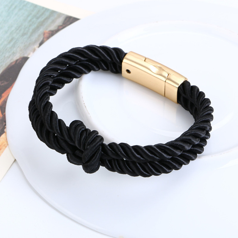 2017 charm style braided rope chain with hot magnetic buckle leather bracelet bracelet with arch charm woman Friendship Bracelet