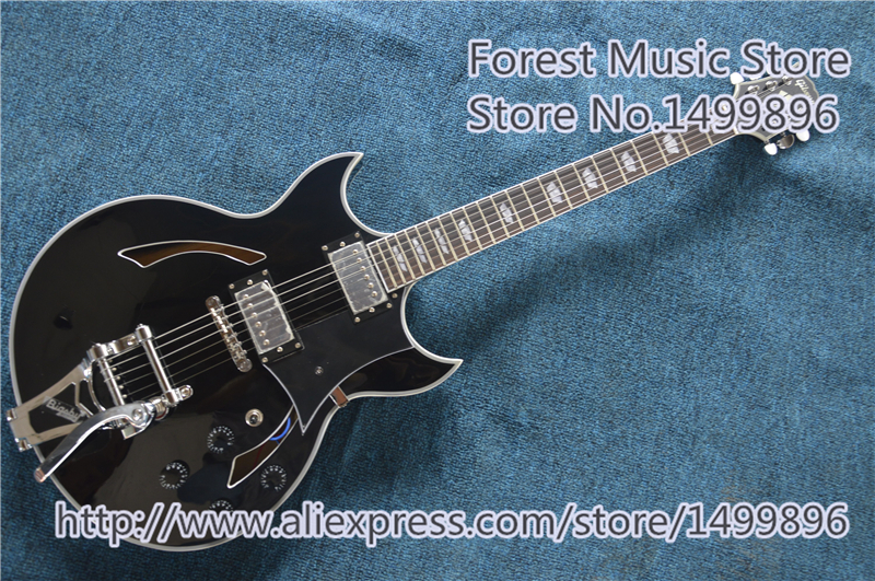 Black Finish Hollow Maple Body ES Electric Jazz Guitar Chrome Floyd Rose Tremolo Free Shipping 2017 new guitar factory all flame maple body chibson es 175 electric jazz guiar es175 semi hollow jazz guitar free shipping