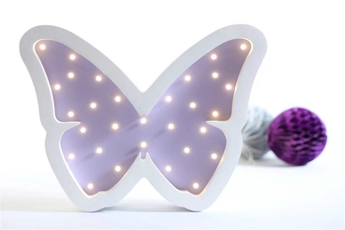 Novelty 3D LED Wooden Butterfly Hanging Up Night Light Cute Children Bedroom Decoration Lamp Play Toys Lovely Kid Gifts 4 Colors