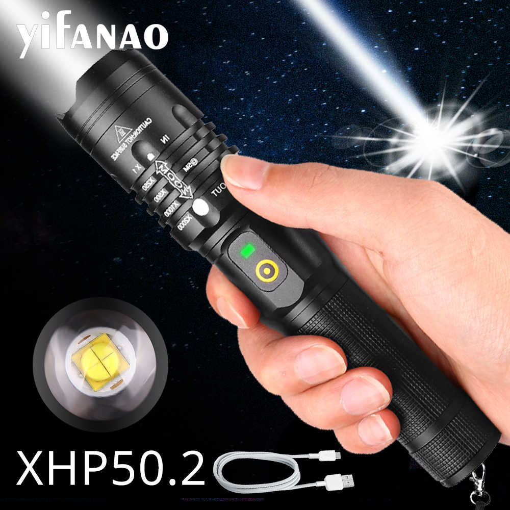 Xlamp 6000LM Powerful LED Flashlight XHP50.2 USB Rechargeable Torch XHP70.2 Zoom Lantern XHP50 Hunting Lamp Use 18650