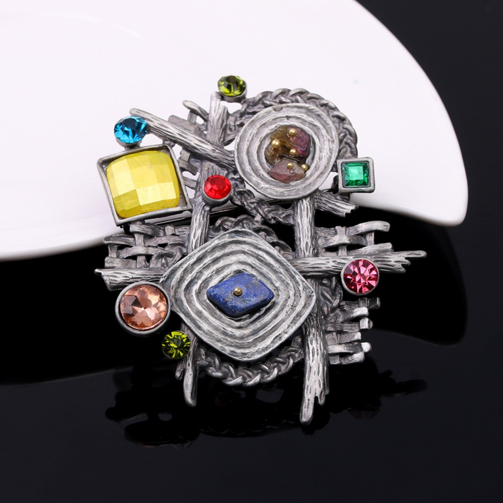 JUJIE Brooches For Women 2016 Vintage Multicolor Nature Stone Brooch Female Geometric Irregular Rhinestone Pins Brooches Gift
