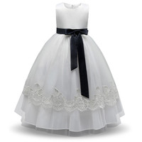 Elegant Girl Dress Children Prom Gown Designs Clothes Girls Beautiful Lace Wedding Dress White Baby Girl