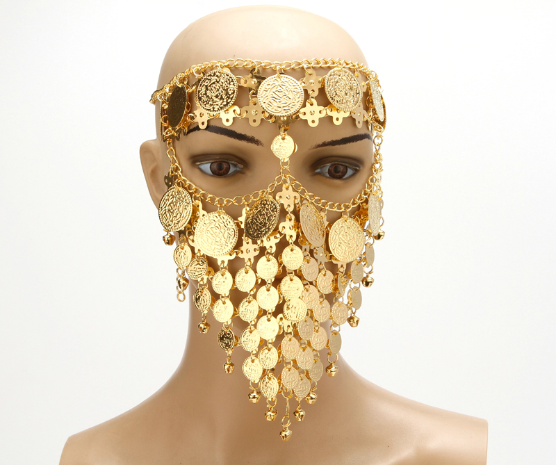 Belly Dance Costume Headwear Coins Face Mask Veil Tribal Arab African Egypt Gold Plated Accessory locket