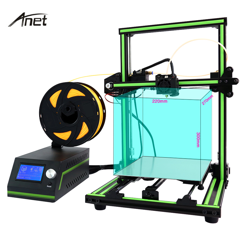 Anet E10 Easy Assemble  3D Printer Aluminum Frame DIY Kit LCD 12864 Large Print Size with Filament 8G SD Card 2017 new anet easy assemble 3d printer upgrated reprap prusa i3 3d printer large print size kit diy with filament 16gb sd card