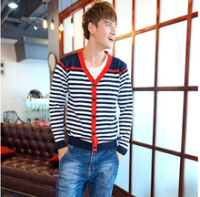 Free Shiping mens cardigans,2017 new V-neck long-sleeved striped knit sweater men's sweater 4 color 4 size