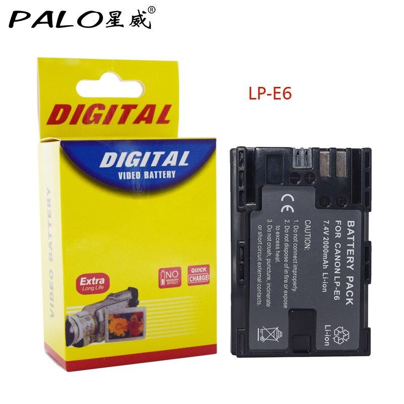 Palo 1Pcs 2000mAh LP-E6 LP E6 LP-E6N Camera Battery For Canon EOS 5DS 5D Mark II Mark III 6D 7D 60D 60Da 70D 80D DSLR EOS 5DSR