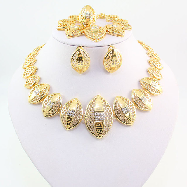 African Costume Jewelry Sets Gold Color Fashion Crystal Rhinestone