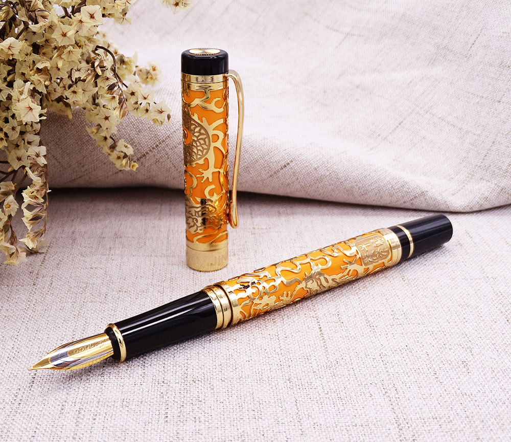 Jinhao 5000 Vintage Luxurious Metal Fountain Pen Beautiful Dragon Texture Carving, Orange & Golden Ink Pen for Office Business jinhao jh 029 acrylic fountain pen translucent orange