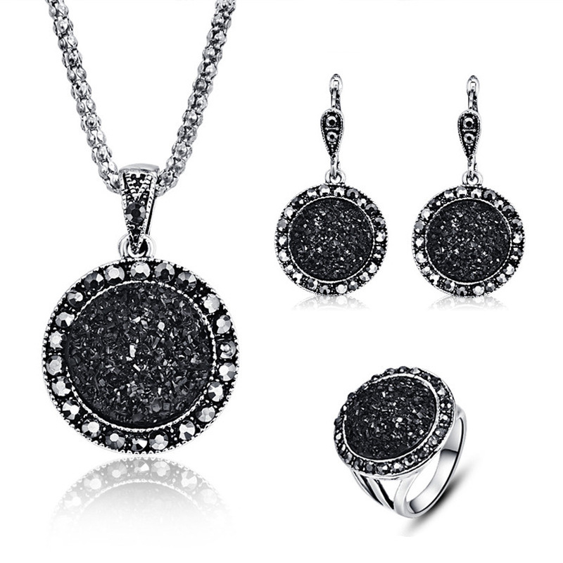 CBO15 Fashion black round gravel resin necklace earrings cute ring three set