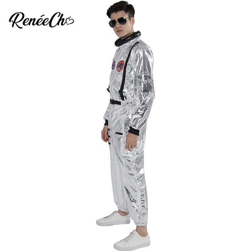 Space ชุดสำหรับชายผู้ใหญ่ PLUS ขนาดเครื่องแต่งกาย Silver ชุด 2019 ใหม่มาถึงวันฮาโลวีนเครื่องแต่งกาย One Piece Jumpsuit