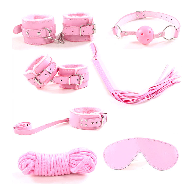 Adult Game 7 PCS/Set PU Leather Handcuffs Whip Collar Erotic Toy for Couple Fetish Sex Bondage Restraint Sex Toy for Couples 7pcs set black handcuffs gag nipple clamps whip collar erotic toy leather fetish sex bondage restraint sex toys for couples o3