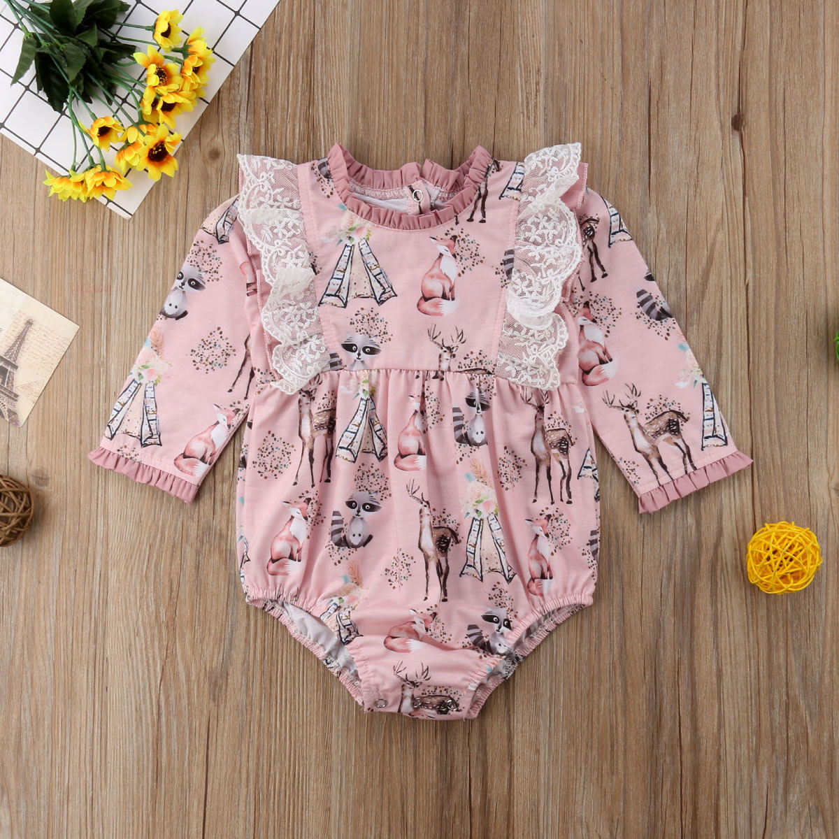 ea5fde33a Newborn Baby Girls Long Sleeve Romper Jumpsuit Floral Clothes ...
