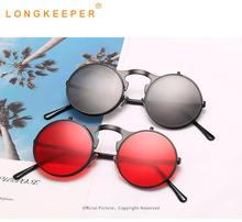 LongKeeper Folding Sunglasses Women Men Luxury Brand Designer Double Lens Steampunk Glasses Goggles Female UV400