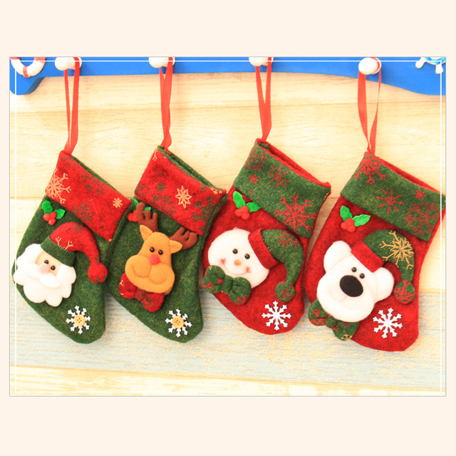 8 pieceslotleiso christmas decoration large gift bags decorated christmas socks gift - Wholesale Large Christmas Decorations