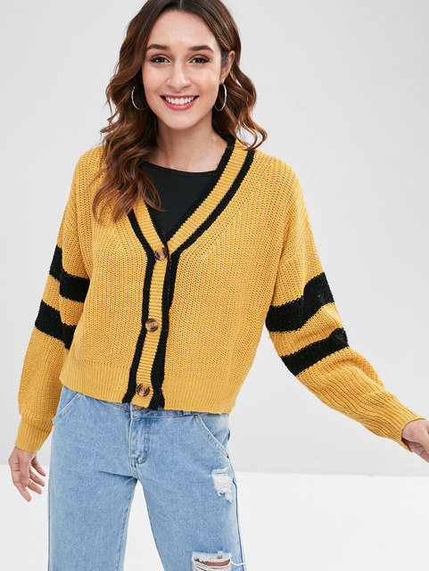 45a357bf038e STYLE Button Front Drop Shoulder Striped Winter Cropped Cardigan Casual  Contrast Rib Knit Sweater Harajuku Outwear Cardigan