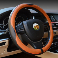 38cm 15 Genuine Leather 15 Steering Wheel Cover Car Universal Breathable High Quality Auto La Cubierta