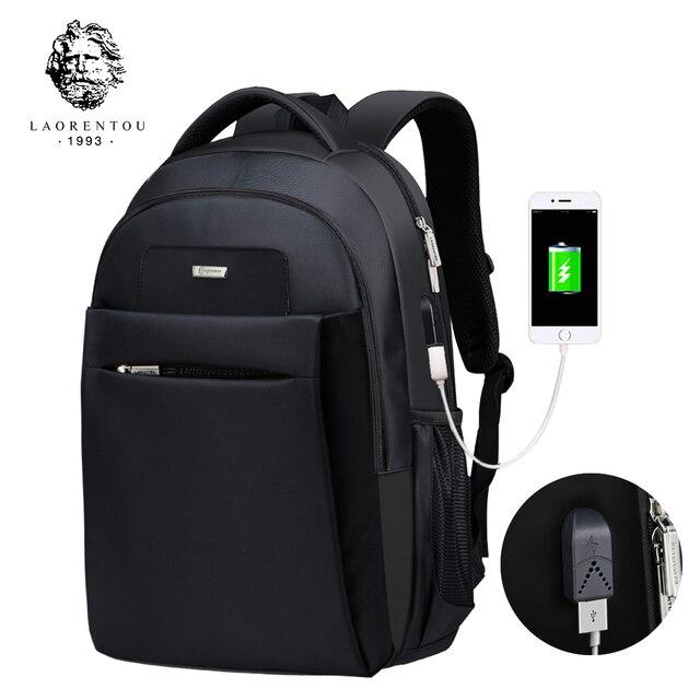 Laorentou Pюкзак мужской дорожные сумки 2017 Многофункциональный рюкзак водонепроницаемый Оксфорд черный школьные рюкзаки для подростков Mochila